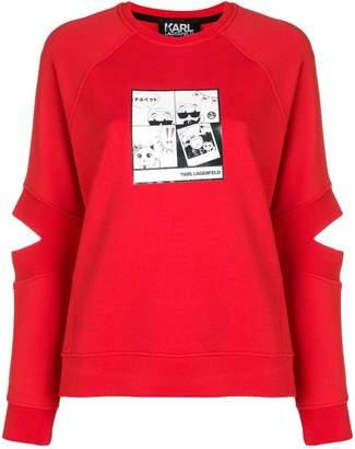 Karl Lagerfeld Paris Manga print spliced sleeve sweatshirt
