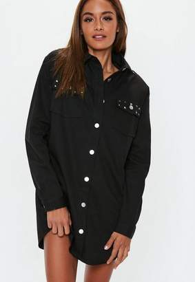 Missguided Black Studded Long Sleeve Shirt Dress, Black