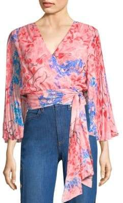 Alice + Olivia Lola Silk Pleated Sleeve Wrap Top