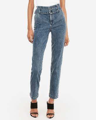 Express High Waisted Belted Ruffle Denim Trouser