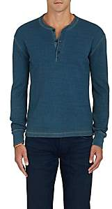 RRL Men's Thermal-Knit Cotton Henley - Blue