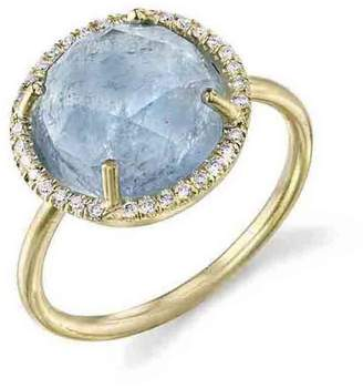 Irene Neuwirth Rose Cut Aqua Ring with Diamonds - Yellow Gold