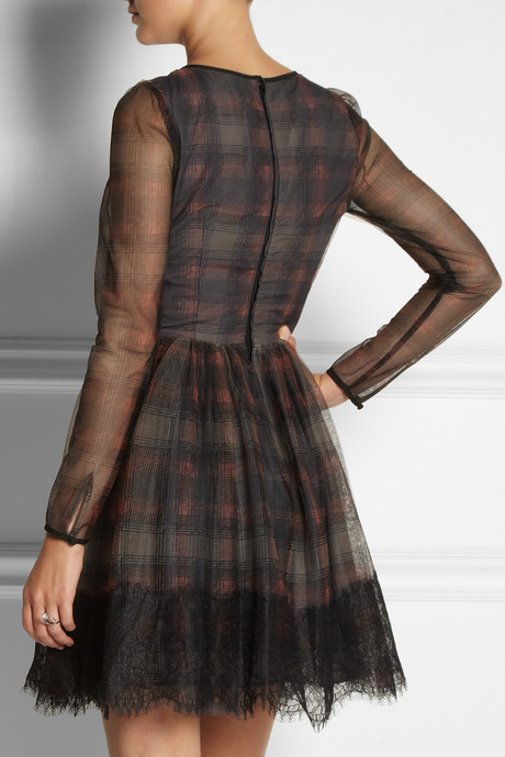 RED Valentino Plaid-print tulle dress