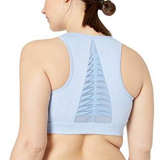 Core 10 Amazon Brand Women's Standard Icon Series 'Fierce Pleats' Mesh Yoga Longline Sports Bra