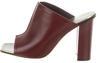 CelineCéline Leather Peep-Toe Mules