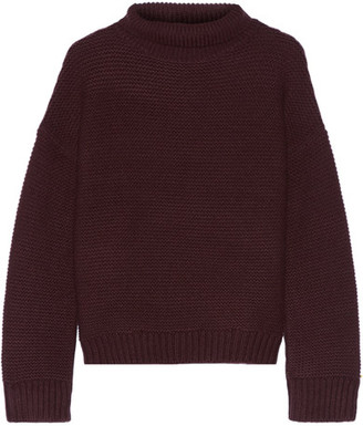 Vince - Textured Wool And Cashmere-blend Turtleneck Sweater - Merlot $325 thestylecure.com