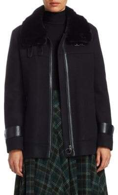Akris Punto Faux-Fur Collar Jacket