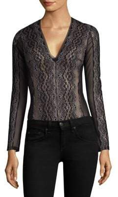 BCBGMAXAZRIA Mesh Lace Bodysuit
