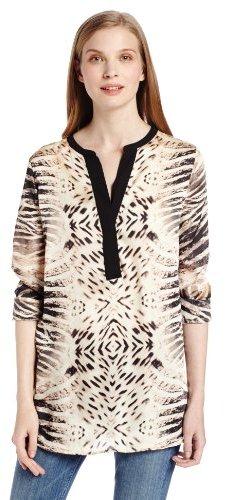 Vince Camuto Women's Split Neck Mirrored Animal Tunic