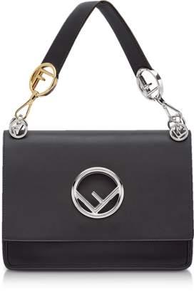 Fendi Kan I Logo Medium Black Leather Top Handle Satchel Bag
