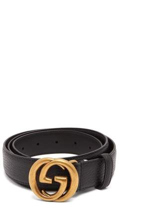 Gucci Gg Leather Belt - Mens - Black