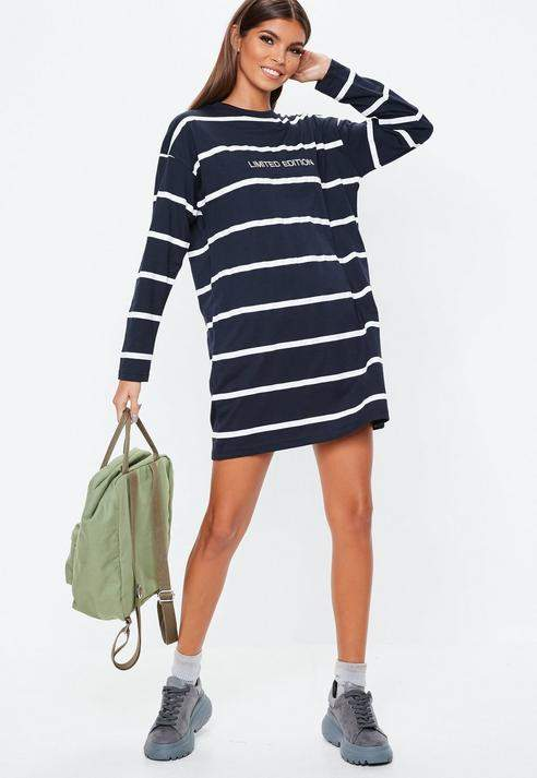 Navy Stripe Limited Edition Long Sleeve T-Shirt Dress', Navy