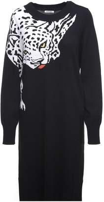 Krizia Leopard-intarsia Wool-knit Dress