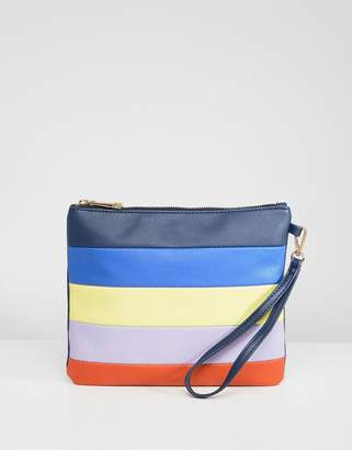 Oasis Multi Color Stripe Clutch Bag