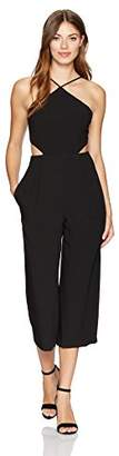 Bebe Women's Woven Crepe Cropped Jumpsuit with Side Cut Outs