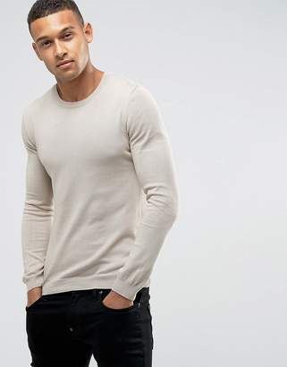 Asos Muscle Fit Cotton Sweater In Pink