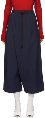 Marni Navy Poplin Cropped Trousers