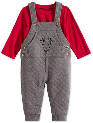 First Impressions Baby Boys 2-Pc. Quilted Reindeer Overalls & T-Shirt Set