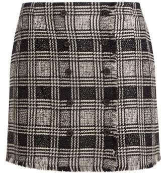 Thom Browne Prince Of Wales Check Wool Blend Tweed Skirt - Womens - Black White
