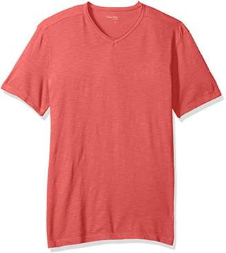 Calvin Klein Jeans Men's Short Sleeve Mixed Media V-Neck T-Shirt
