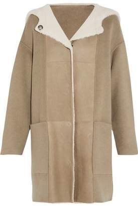 Yves Salomon Paneled Cashmere And Suede Coat