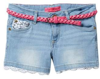 Betsey Johnson Lace Trim Jean Shorts with Braided Belt (Big Girls)