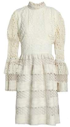Anna Sui Ruffle-Trimmed Guipure Lace Dress