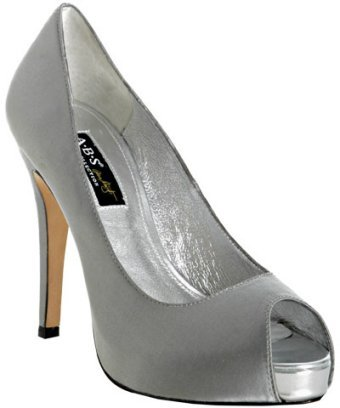 A.B.S. silver satin 'Arson' peep toe platform pumps