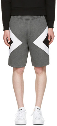 Neil Barrett Grey Tricolor Modernist Shorts $470 thestylecure.com