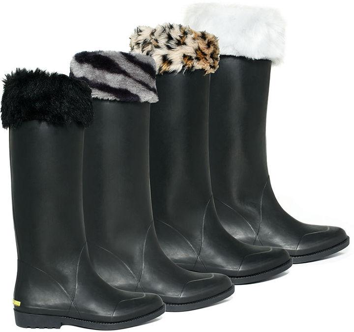 Betsey Johnson Rain Boot Liners, Faux Fur Socks - Calf Height