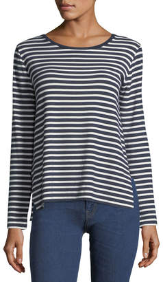 Neiman Marcus Majestic Paris For Long-Sleeve Striped French Terry Boat-Neck Tee