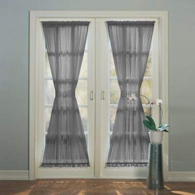 Emily 72-Inch Rod Pocket Sheer Door Curtain Panel in Charcoal