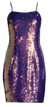 Aidan Mattox Sequin Spaghetti Strap Slip Dress
