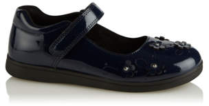 George Girls Navy Sparkle Flower Patent School Shoes