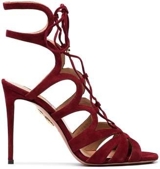 Aquazzura dark chilli Love Affair 105 suede sandals