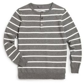 Boy's Long-Sleeve Striped Henley Sweater $78 thestylecure.com