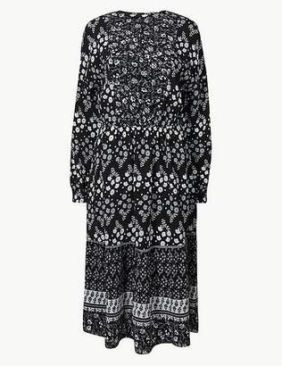 Marks and Spencer PETITE Floral Print Waisted Midi Dress