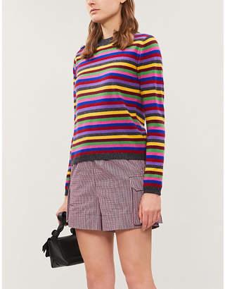 Ganni Embellished striped cashmere-knit jumper