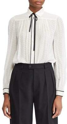 Polo Ralph Lauren Long-Sleeve Self-Tie Silk Button-Down Shirt