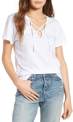 Women's Lna Raw Edge Lace-Up Tee $88 thestylecure.com