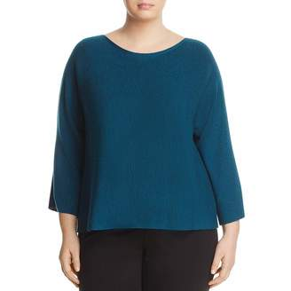 Eileen Fisher EileenFisher Womens Plus Wool Bateau Neck Sweater Green