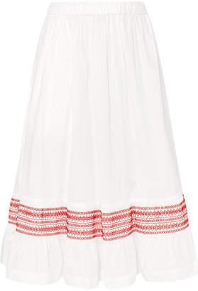 Comme des Garcons Shirred Cotton-poplin Midi Skirt - White
