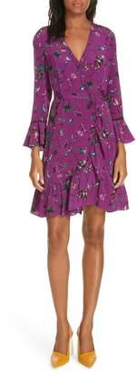 Tanya Taylor Nomi Vines Print Faux Wrap Silk Dress