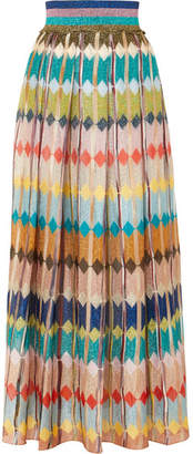 Missoni Striped Metallic Crochet-knit Maxi Skirt - Blue