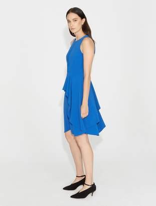 Halston Flounce Skirt Crepe Dress