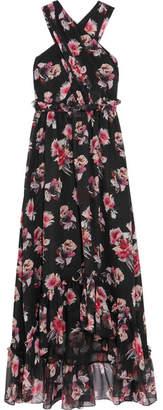 MSGM Ruffled Floral-print Silk-chiffon Gown - Black