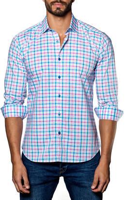 Jared Lang Grid-Print Sport Shirt, Pink/Blue