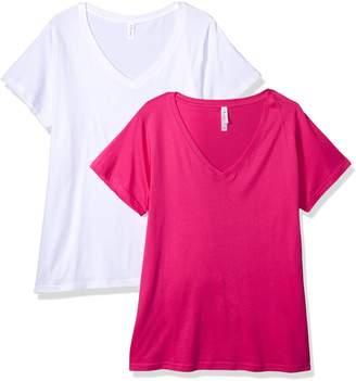Clementine Apparel Women's Ladies Curvy Plus Size V-Neck T-Shirt (2 Pack)