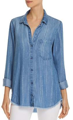 Bella Dahl Frayed Striped Chambray Shirt