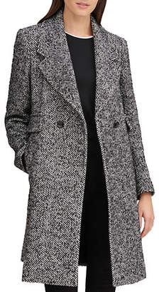 Karl Lagerfeld PARIS Double-Breasted Wool-Blend Reefer Coat